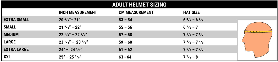 The Top Chart Is For Helmet Sizing Bottom One Our Youth Line Which Includes Inserts That Are Interchangable To Resize